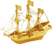 Golden Hind Gold Color - Metal Earth 3D Model Puzzle