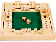 Shut The Box Deluxe Four Sided 10 Number - Wooden Game