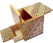 3.5 Sun 10 Steps Cube W/Secret DRAWER  - Japanese Puzzle Box