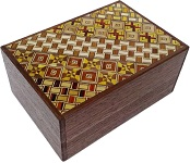 4 Sun 12 Steps Yosegi and Natural Walnut - Japanese Puzzle Box