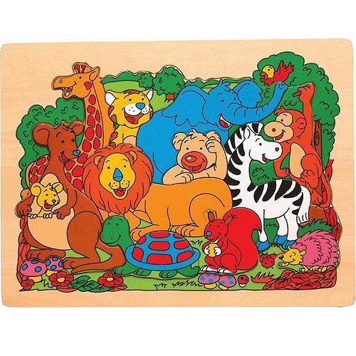 Safari animals - jigsaw raised wooden puzzle