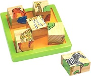 6 Animals Wooden Block Puzzle with 9 Cubes