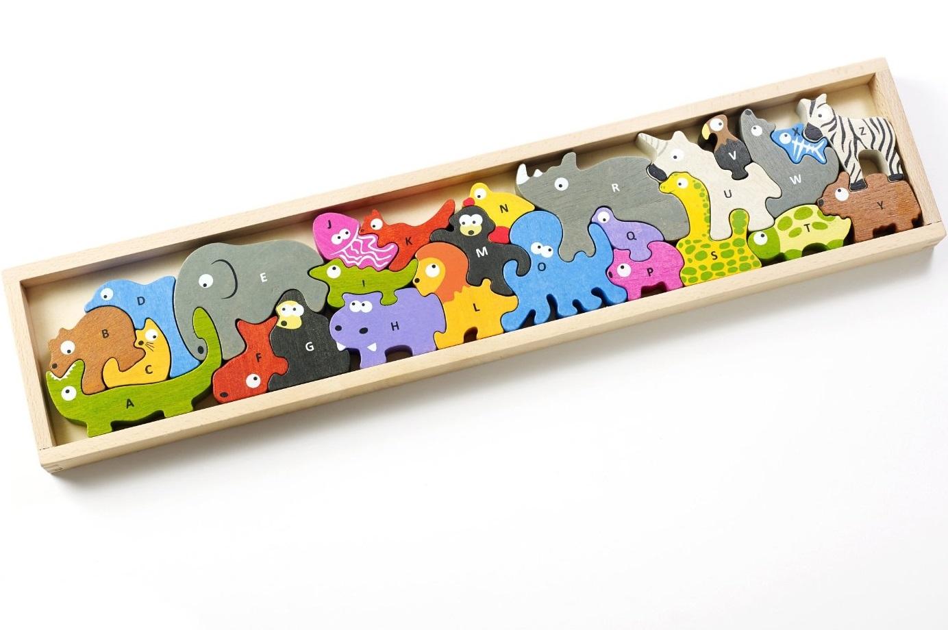 Animal alphabet parade chunky wooden puzzle