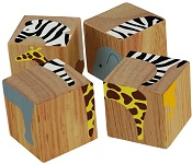 Buddy Blocks Safari Animals - Wooden Puzzle Set