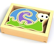Mini Color Snail Wood Puzzles Playset