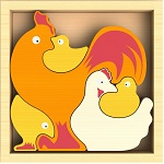 Chicken Family Wood Puzzles Playset