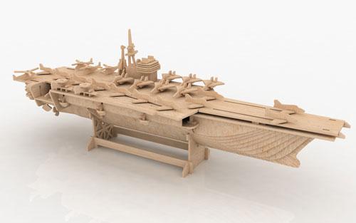 Aircraft Carrier 3D Puzzle - Jigsaw Woodcraft Kit Wooden ...