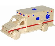 Ambulance - 3D Jigsaw Woodcraft Kit Wooden Puzzle
