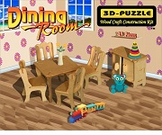 Dining Room Miniature Furniture - 3D Jigsaw Woodcraft Kit Wooden Puzzle