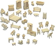 Doll House Miniature Furniture Set - 3D Woodcraft Kit Wooden Puzzle