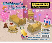 Children's Bedroom Miniature Furniture - 3D Jigsaw Woodcraft Kit Wooden Puzzle