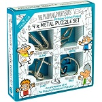 The Puzzling Professors' Set - 4 Disentanglement Metal Puzzles for Kids