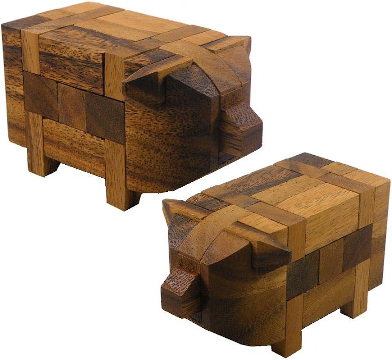 Pig Kumiki - 3D Brain Teaser Wooden Puzzle