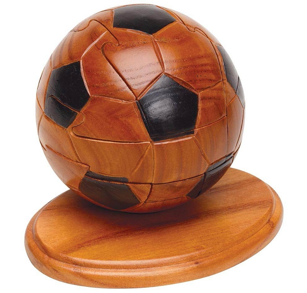 Soccer: Soccer Ball 3d Wooden Puzzle Sports With Trivia Cards