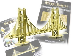 San Francisco Golden Gate Bridge Gold Edition - Metal Earth 3D Model Puzzle