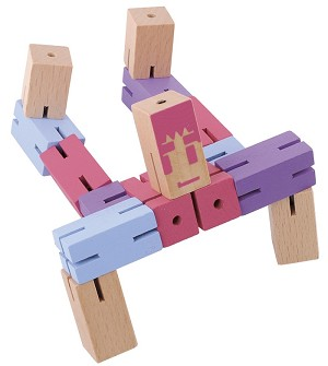 Puzzle Boy (Pink, Purple and Blue) -  Twisting cube Wooden puzzle