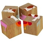 Buddy Blocks Farm Animals - Wooden Puzzle Set