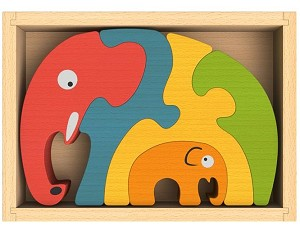 Elephant Family Chunky Wooden Puzzle