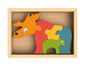 Moose and Calf Chunky Wooden Puzzle