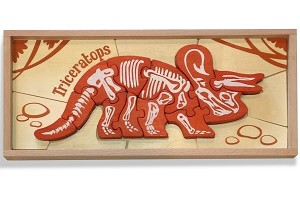 Dinosaur Skeleton Triceratops - Chunky Wooden Puzzles