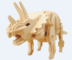 Triceratops Dinosaur - Sound Control Roaring and Moving Large 3D Puzzle Woodcraft Kit