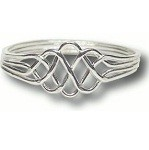 4 Band Princess Sterling Silver Puzzle Ring