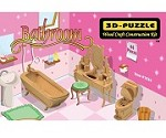 Bathroom Miniature Furniture - 3D Jigsaw Woodcraft Kit Wooden Puzzle