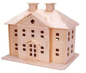 Country Mansion - 3D Jigsaw Woodcraft Kit Wooden Puzzle