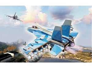 F-18 Hornet - Colored 3D Jigsaw Woodcraft Kit Wooden Puzzle