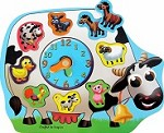 Farm Animals - Wooden Raised Puzzle & Clock