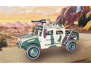 Hummer H1 (L) - Colored 3D Jigsaw Woodcraft Kit Wooden Puzzle