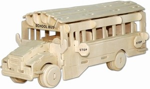 School Bus - 3D Jigsaw Woodcraft Kit Wooden Puzzle