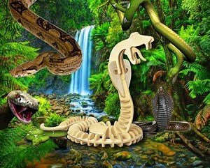 Snake 3D Jigsaw Woodcraft Kit - Wooden Puzzle