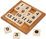 Fifteen Number Challenge - Wooden Puzzle Math Brain Teaser