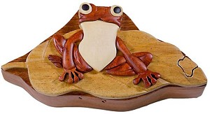 Frog On Lily Pad - Secret Wooden Puzzle Box