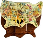 US Map Graphic - Secret Wooden Puzzle Box