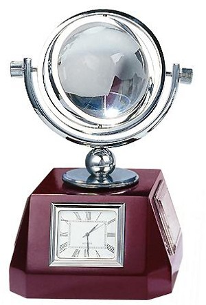 Spinning Globe With Clock And Weather Station
