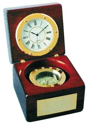 New Piano Wood Finish Compass And Clock Chest
