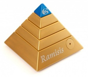 Ramisis Metal Brain Teaser Puzzle Gold and Blue In Leather Box