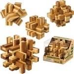Four Bamboo Wooden Puzzles Set