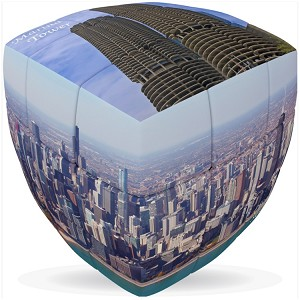 Chicago City Cube V-Cube 3x3 Pillowed Twisty Puzzle