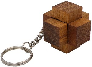 Crosswood Key Chain - Wooden Puzzle Brainteaser