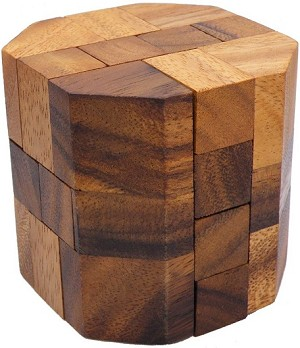 Cylindrical Cube - Wooden Brain Teaser Puzzle