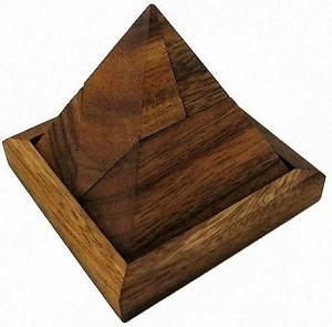 5 Piece Pyramid Wooden Puzzle Brain Teaser