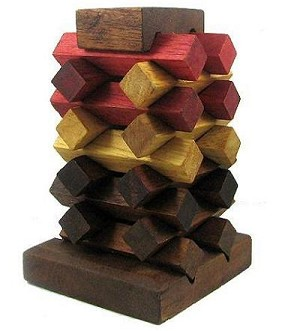 Raising Tower - Wooden Brain Teaser Puzzle