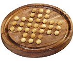 Round Solitaire Marble - Wooden Brain Teaser Game