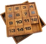 Slide Fifteen With Wood Box- Brain Teaser Wooden Puzzle