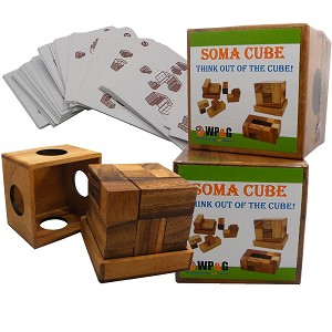 Soma Cube Set With 50 Playing Cards - Brain Teaser Wooden Puzzle