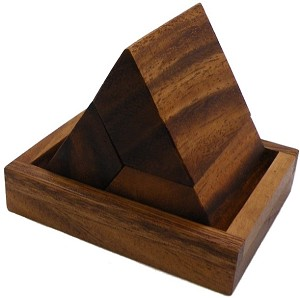 3 Pieces Pyramid With Base - Wooden Puzzle