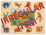 Irregular - Animals - Peg & Jigsaw Wooden Puzzle